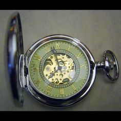 """$50 - """"Pocket Watch Steam Punk Silver Gothic Filigree Glow Necklace or chain fob"""""""