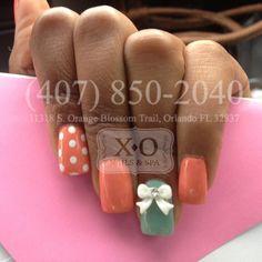 Mint / Orange Polka dots & 3D Bows Nail Design.  Simple Nail Art. https://www.facebook.com/XONailsOrlando