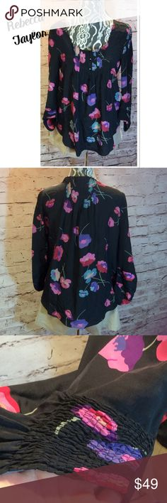 SZ 4 REBECCA TAYLOR % SILK FLORAL BLOUSE This blouse is stunning and in perfect condition  multi color floral print with a black background. Check out the beautiful sleeves and pleated front and back Rebecca Taylor Tops Blouses