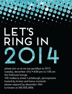 Let's ring in 2014! Ring in the Bling - Party Invitation Postcards in a glimmery Aqua Blue