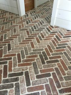 Herringbone Brick Paver Floor Thinking about putting a brick floor in your home? Read this post for information about where to buy brick tiles cost sealer and more! The post Herringbone Brick Paver Floor appeared first on Outdoor Ideas. Brick Tile Floor, Wood Tile Floors, Brick Pavers, Brick Flooring, Laminate Flooring, Brick Wall, Porch Tile, Brick Porch, Porch Flooring