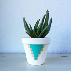 4 Terra Cotta Cactus Pot  Hand painted by ShopVioletHour on Etsy