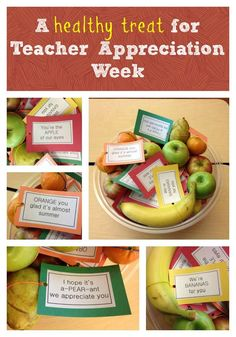 Looking for a way to make a teacher's day? Look what the parents at my children's school did for Teacher Appreciation Week: They filled a bowl with fresh fruit, attached these adorable notes, and set it out for the staff. The bowl will be refilled all week long. It goes without saying, but ...