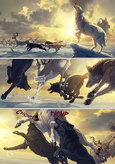 Chapter One: Page Thirty Two. Fantasy Wolf, Fantasy Art, Off White Comic, Anime Wolf Drawing, Wolf Comics, Wolf Spirit Animal, Dark Spirit, Furry Wolf, Furry Comic