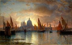 William Stanley Haseltine - Santa Maria della Salute, Sunset, 1870-85.