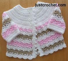 Free baby crochet pattern for pretty coat http://www.justcrochet.com/pretty-coat-usa.html #justcrochet