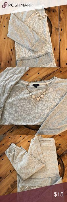 Gap- Sweatshirt Baseball style, 3/4 length sleeve sweatshirt. Cute willowy on gray animal print. Very good condition! GAP Sweaters Crew & Scoop Necks