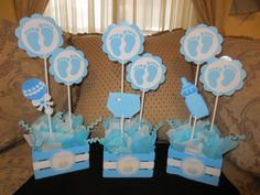 Baby shower centerpieces using foamy or cardboard - Baby shower centerpieces using foamy or cardboard - Baby Shower Drinks, Baby Shower Niño, Baby Shower Cupcakes, Baby Shower Favors, Baby Boy Shower, Baby Shower Gifts, Girl Baby Shower Decorations, Baby Shower Centerpieces, Baby Shower Themes