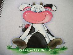 """Animali, mucca.   """"Passo a passo pintura vaquinha country"""", questo e tanto altro: www.catiaastremanuais.com"""