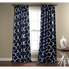 Lush Decor Geo Blackout Window Curtain, 84 by Navy, Set of 2 Chic and versatile, Geo Blackout window panels feature all over Trellis pattern and keeps Geometric Curtains, Navy Curtains, Rod Pocket Curtains, Window Curtains, Navy And White Curtains, Patterned Curtains, Curtains Living, Bedroom Curtains, Window Panels