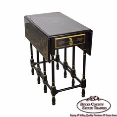 Drexel Heritage Ebonized Chinoiserie Drop Leaf Gate Leg 1 Drawer Side Table - Image 1 of 10 Chinoiserie, Scotland Castles, Black Table, Small Tables, Beveled Glass, Drafting Desk, Drawers, Drop, Gate