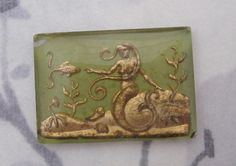 glass reverse painted intaglio green & gold mermaid cabochon 24x17mm - f4805