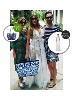 Sofia Vergara with her family - seen in Martha Medeiros and carrying Dolce & Gabbana. #dolceandgabbana #marthamedeiros  #sofiavergara @dejamoda