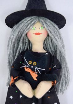 Witch Doll and Cat Doll  Halloween  Art Doll  Halloween