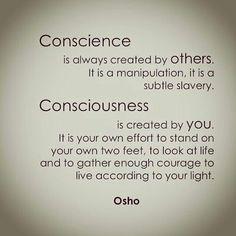 Osho - Conscience and consciousness Spiritual Wisdom, Spiritual Growth, Spiritual Awakening, William Shakespeare, Mind Power Quotes, Consciousness Quotes, Higher Consciousness, Chakra, Wisdom Quotes