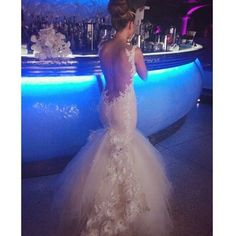 back out tulle tumpet wedding dresss