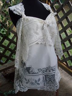 Tattered gypsy  Wedding Alternative Crochet vintage antique lace upcycled  victorian bridal. $29.99, via Etsy.