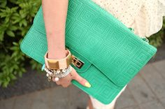 Love the bright clutch and love the jewelry