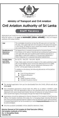 Sri Lankan Government Job Vacancies At Airport  Aviation Services