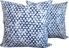Designer decorative pillow cover Front-block print in blue on white background Back - solid white Edges are serged to prevent fraying Invisible zipper at the bottom Insert is not included Made of cotton/linen Dry clean