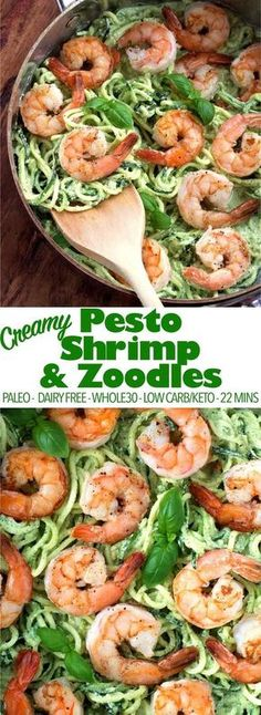 A quick and easy dinner in only 22 mins! This creamy pesto shrimp and zoodles re - Keto Vegetarian - Ideas of Keto Vegetarian - A quick and easy dinner in only 22 mins! This creamy pesto shrimp and zoodles recipe is paleo low carb keto and dairy-free! Seafood Recipes, Low Carb Recipes, Vegetarian Recipes, Healthy Recipes, Dairy Free Zoodle Recipes, Lunch Recipes, Paleo Ideas, Fast Recipes, Donut Recipes
