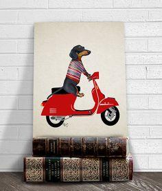 Dachshund print Dachshund on moped dachshund gift by LoopyLolly