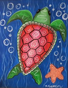 How To Paint A Stylized Sea Turtle - Step by step painting Canvas Painting Tutorials, Acrylic Painting For Beginners, Easy Canvas Painting, Step By Step Painting, Beginner Painting, Easy Paintings, Acrylic Painting Canvas, Diy Painting, Canvas Paintings