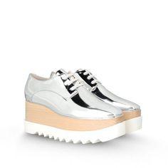 Top angesagt: Schuhe im Oxford-Stil mit dicker Profilsohle in der Kombination  Silber-Metallic- Holz und weißer Gummisohle