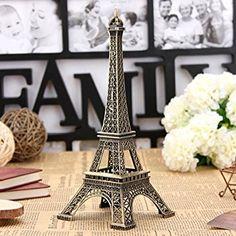 Bronze Tone Paris Eiffel Tower Figurine Statue Vintage Model Decor Alloy 13cm
