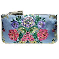 clutch fallera® con detalles florales, realizados en tela de seda color azul, rosa y oro. fallera bag with floral pattern. #bag #clutch #bolso http://fallera.com/es/bolsos/bc00706-detail
