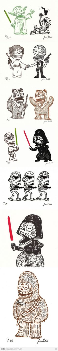 Star Wars Calaveras by Jose Pulido. I would love to get one of these guys tattooed to me.