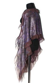 Nuno felted silk scarf Wrap Long Purple Brown by FeltedPleasure, $87.00
