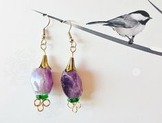 $25 ~ February Birthstones ~ Amethyst Earrings ~ - Chunky Purple Gemstones ~ Natural, Earthy, Bohemian, Gypsy Healing Crystals ~ Gift for Auntie ~ Use discount code BOXINGWEEK2015 for 25% off in my shop BlueWorldTreasures.Etsy.com