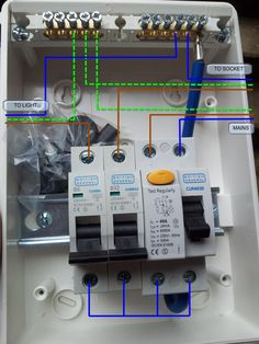 how to wire rcd in garage shed consumer unit uk consumer unit rh pinterest co uk consumer unit wiring ring main consumer unit wiring cost
