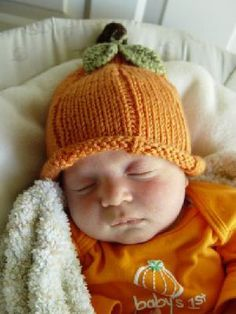 Hand Knit Pumpkin Hat...  Available Sizes: Preemie, Newborn, Infant, Toddler, Young Child