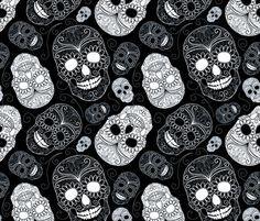 Black and White Sugar Skulls fabric   Spoonflower - custom fabric