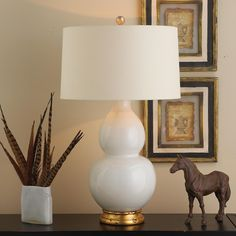 "Spa Hues Ceramic Table Lamp - 7 Colors shown in bone white  34""  height  drum shade 18"" width"