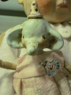 Primitive Vintage Inspired Doll Girl and Elephant