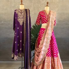 Brightening our day and mood crushing on Jayanti Reddy new additions ~ Royal purple & Indian pink ~ A classic pair up. Stunning blush pink color lehenga and blouse with dupatta. Benarasa lehenga and blouse with hand embroidery work. Half Saree Designs, Bridal Blouse Designs, Lehenga Designs, Saree Blouse Designs, Half Saree Lehenga, Lehnga Dress, Bridal Lehenga Choli, Banarasi Lehenga, Blue Lehenga