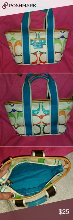 EUC AUTHENTIC SCRIBBLE TOTE SMALL FOR YOUNG GIRL This is a small authentic scribble tote for a young girl smoke free home.excellent condition 11x8 tall no trades price is firm coach Bags Totes