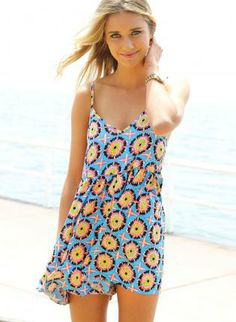 Blue V-Neck Sleeveless Playsuit with Bold Neon Print,  Other, printed romper  sleeveless, Casual