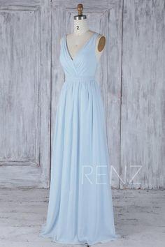 05081ecc6 Bridesmaid Dress Light Blue Chiffon Dress Wedding Dress With Sash Long  Double Straps Ruched V Neck Backless Bridesmaids Dresses (H506A)