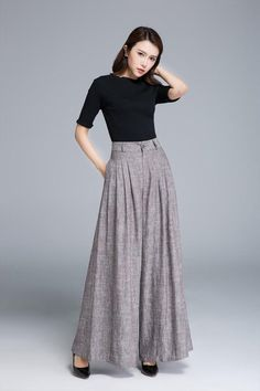 palazzo pants brown linen pants wide leg pants pleated pant womens pants maxi pants high waisted pants palazzo trousers by xiaolizi Wide Leg Linen Pants, Wide Leg Pants, Long Pants, Linen Trousers, Women's Pants, Cargo Pants, Maxi Pants Outfit, Skirt Outfits, Wide Legs
