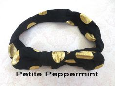 Black Gold Polka Dot Baby headband,baby head wrap,Black Bow Headband,Black Girl Headband,Baby Turban,Bow Knot Headband,Top Knot Headband by PetitePeppermint on Etsy https://www.etsy.com/listing/165564997/black-gold-polka-dot-baby-headbandbaby