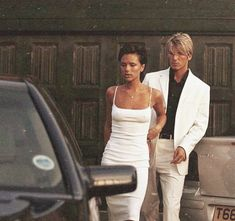 David and Victoria Beckham pictured leaving their house together in Hertfordshire, 1997 Victoria And David, David And Victoria Beckham, Victoria Beckham Style, David Beckham Style, Celebrity Couples, Celebrity Pictures, Celebrity Skin, Celebrity Portraits, Celebrity Style