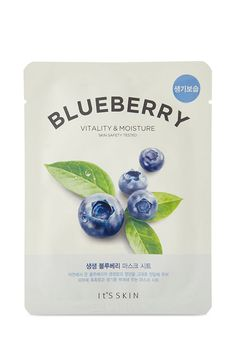 A facial sheet mask by It's Skin™ featuring a cushion pulp sheet, and a moisturizing blueberry extract for revitalizing the skin.