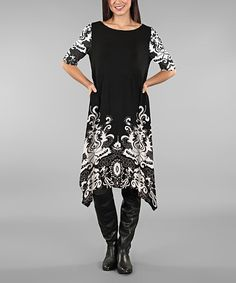 Another great find on #zulily! Black & White Abstract Swirl Tunic - Plus #zulilyfinds