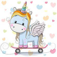 Vektor: Cute Cartoon Blue Unicorn