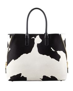 Tom Ford - Jennifer Trapeze Calf Hair Tote Bag, Black/White