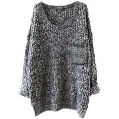Women's Casual Unbalanced Crew Neck Knit Sweater Loose Pullover... ($24) ❤ liked on Polyvore featuring tops, cardigans, grey top, grey cardigan, pullover cardigan, grey pullover and grey knit cardigan